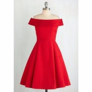 Emily and Fin Red Off Shoulder Dress Size XS